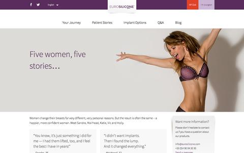 Screenshot of Testimonials Page eurosilicone.com - Five women, five stories... - Eurosilicone - captured Dec. 12, 2015