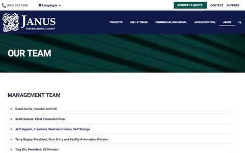 Screenshot of Team Page janusintl.com - Our Team - captured Feb. 18, 2019