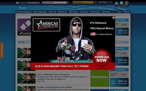 Screenshot of Press Page pokerwinners.com - Latest News and Features | PokerWinners - captured Feb. 2, 2016