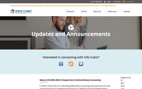 Updates and Announcements | Info Cubic