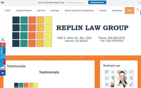 Screenshot of Testimonials Page replinlawgroup.com - Testimonials | - captured Dec. 19, 2016