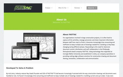 Screenshot of About Page fasttac.com - About Us - captured Sept. 30, 2014