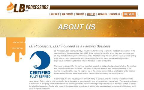 Screenshot of About Page lbprocessors.com - Bulk Emu Oil Company | AEA Certified Emu Oil | Rendering Emu Fat LB Processors - captured Sept. 25, 2018