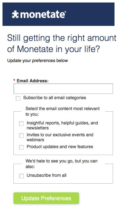Subscription Preference Center | Monetate