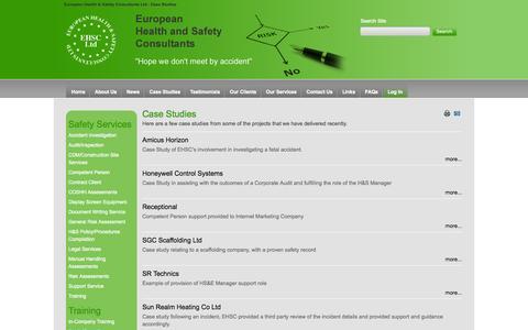 Screenshot of Case Studies Page ehsc.co.uk - Case Studies - Health & Safety Services - European Health & Safety Consultants UK - Crownhill, Milton Keynes, Buckingham - captured Oct. 2, 2014