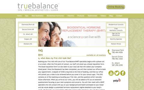 Screenshot of FAQ Page mytruebalance.ca - FAQ   Bio-Identical Hormone Replacement Therapy   True Balance - captured Nov. 30, 2016