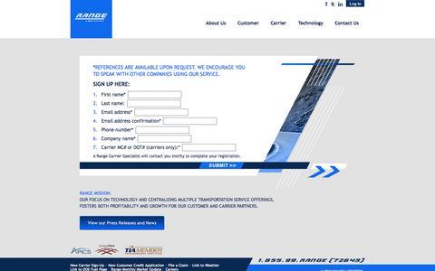 Screenshot of Signup Page rangelogistics.com - Range Logistics - captured Oct. 9, 2014