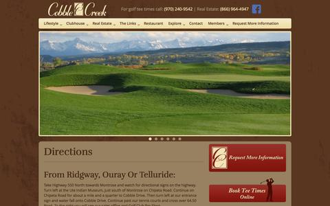 Screenshot of Maps & Directions Page cobblecreek.com - Directions | Cobble Creek Golf Course | Real Estate - captured Oct. 3, 2014