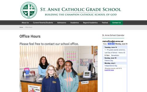 Screenshot of Contact Page Hours Page st-anne.net - Office Hours | St. Anne Catholic School in Warren Michigan - captured June 14, 2016