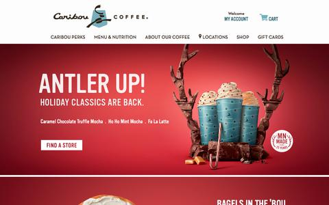 Screenshot of Home Page cariboucoffee.com - The Best Coffee and Tea | Coffee Shops | Caribou Coffee - captured Nov. 13, 2017