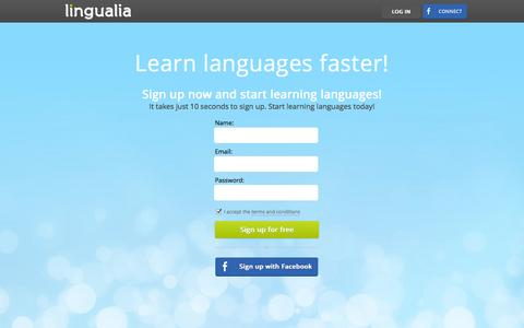 Screenshot of Signup Page lingualia.com - Sign Up - Lingualia - captured Oct. 28, 2014