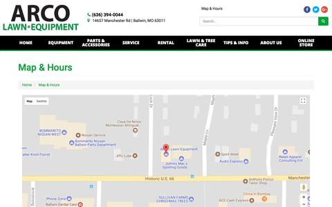 Screenshot of Locations Page Maps & Directions Page arcolawn.com - Location Detail - ARCO Lawn Equipment - Ballwin, MO ARCO Lawn Equipment Ballwin, MO (636) 394-0044 - captured Oct. 9, 2017