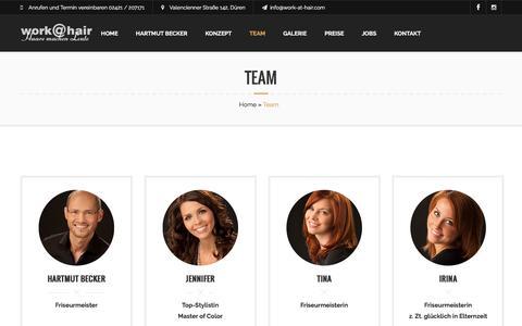 Screenshot of Team Page work-at-hair.com - Team – work@hair - captured June 9, 2016