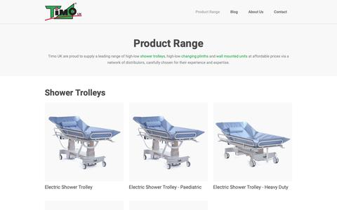 Screenshot of Products Page timouk.com - Product Range | Timo UK - captured Oct. 22, 2018