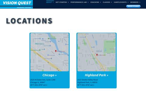Screenshot of Locations Page visionquestcoaching.com - Locations - Cycling and Triathlon Training Center | Vision Quest Coaching - captured Nov. 18, 2018