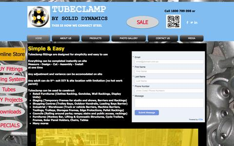 Screenshot of Home Page soliddynamics.com.au - Solid Dynamics - Tubeclamp Tube Connectors Specialist - captured Oct. 6, 2014