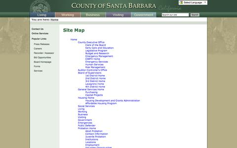 Screenshot of Site Map Page countyofsb.org captured Sept. 24, 2014