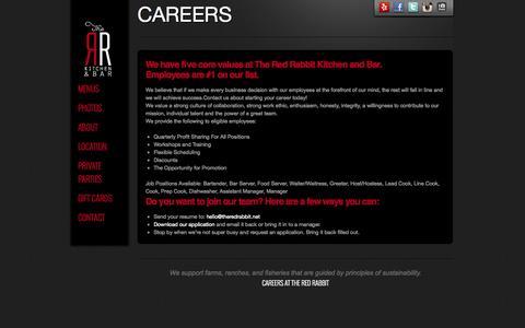 Screenshot of Jobs Page theredrabbit.net - Careers - The Red RabbitThe Red Rabbit - captured Nov. 5, 2014