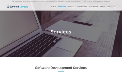 Screenshot of Services Page essentialdesigns.net - Software Development Services - Essential Designs - captured Sept. 29, 2018