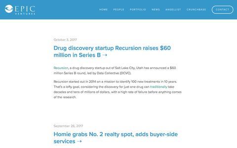 Screenshot of Press Page epicvc.com - News — EPIC Ventures - captured Sept. 19, 2019