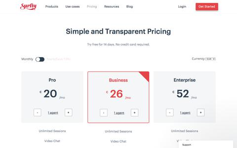 Screenshot of Pricing Page surfly.com - Pricing - Surfly - captured May 14, 2018