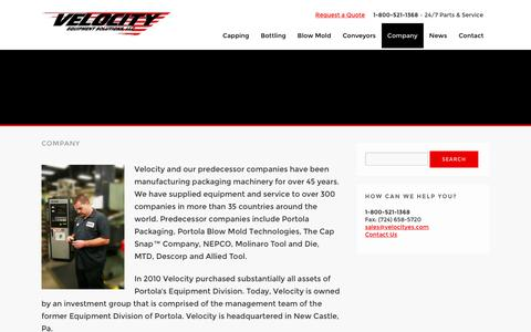 Screenshot of About Page velocityes.com - Company - Velocity Equipment Solutions - captured Oct. 18, 2018