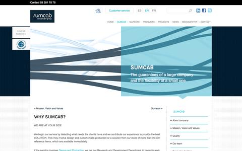 Screenshot of Services Page sumcab.com - Why Sumcab?   SUMCAB SPECIALCABLE GROUP - captured July 10, 2017