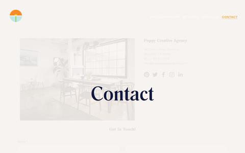 Screenshot of Contact Page poppycreativeagency.com - Contact — Poppy Creative Agency - captured July 19, 2018