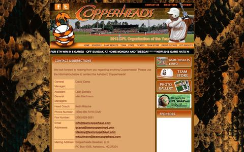 Screenshot of Contact Page Maps & Directions Page teamcopperhead.com - Contact/ Directions Asheboro Copperheads   McCrary Baseball Park in Asheboro, NC   - captured June 13, 2016