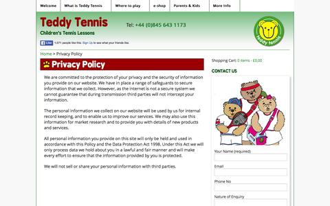 Screenshot of Privacy Page teddytennis.com - Privacy Policy - Teddy Tennis - captured Feb. 2, 2016