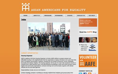 Screenshot of Jobs Page aafe.org - Jobs | Asian Americans for Equality - captured Feb. 6, 2016