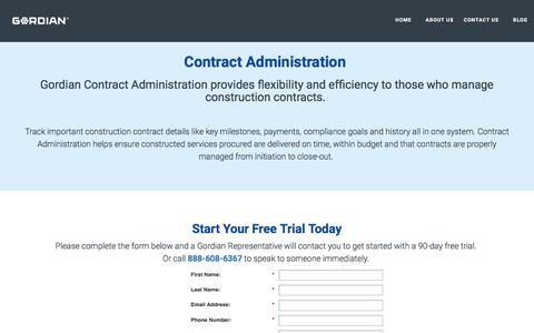 Screenshot of Landing Page thegordiangroup.com - Contract Administration for Construction | Gordian - captured July 19, 2016