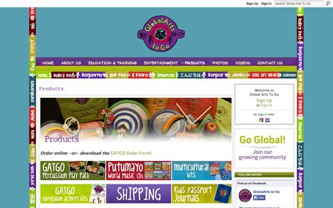 Screenshot of Products Page globalartstogo.com - Products - Global Arts To Go - captured Sept. 30, 2014