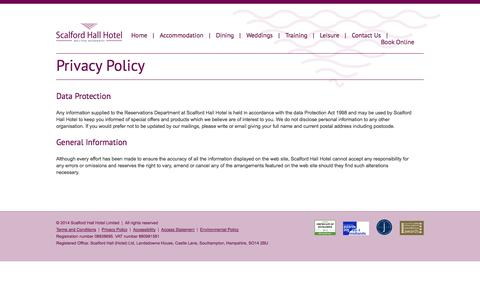 Screenshot of Privacy Page scalfordhall.co.uk - Privacy Policy - Melton Mowbray | Scalford Hall Hotel - captured Oct. 4, 2014