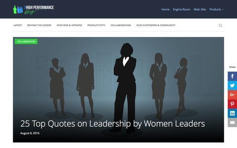 Screenshot of Blog teamwork.com - Teamwork.com - The High Performance Blog - captured Aug. 9, 2016