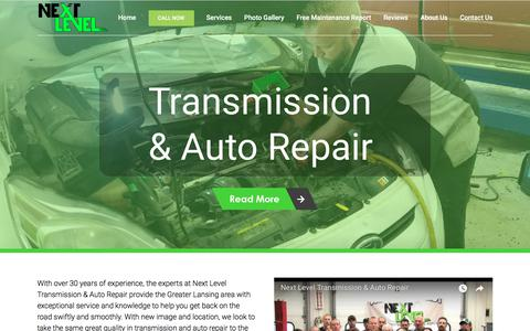Screenshot of Home Page nextlevelrepair.net - Home - Transmission Repair | Lansing | Next Level Transmission and Auto Repair - captured Sept. 24, 2018