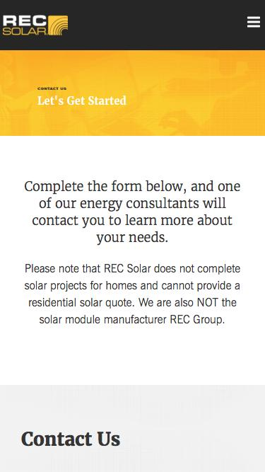 REC Solar Contact Page