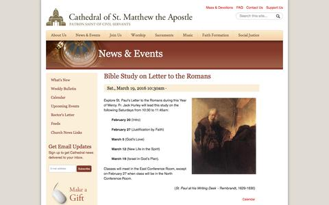 Screenshot of stmatthewscathedral.org - Bible Study on Letter to the Romans   Cathedral of St. Matthew the Apostle in Washington - captured March 20, 2016