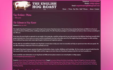 Screenshot of Menu Page theenglishhogroastcompany.co.uk - Menu | English Hog Roast Company - captured Sept. 20, 2018