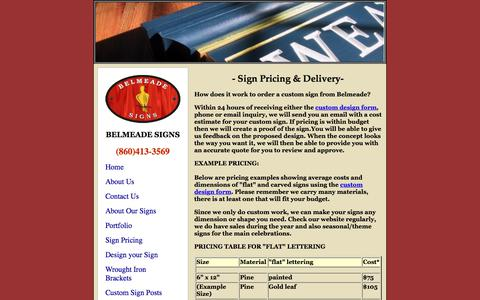 Screenshot of Pricing Page belmeadesigns.com - Belmeade Signs - Pricing for our custom signs by size and finish - captured Aug. 1, 2018