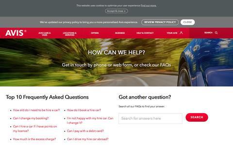 Screenshot of Contact Page avis.co.uk - Car hire query? Contact Avis by phone, web-form or email - captured Aug. 10, 2018