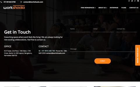Screenshot of Contact Page workshaala.com - coworking space in bangalore - Workshaala Spaces,love your work space, love your work a little more. - captured Oct. 22, 2017