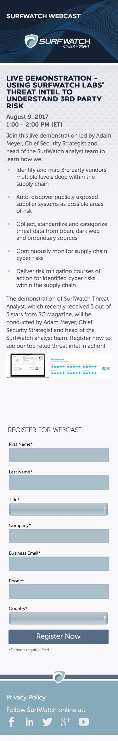 Screenshot of surfwatchlabs.com - Using SurfWatch Labs' Threat Intel to Understand 3rd Party Risk - captured July 12, 2017