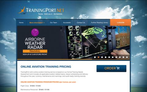 Screenshot of Pricing Page trainingport.net - TrainingPort.net -- Online Aviation Training Pricing - captured Oct. 7, 2014
