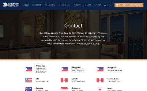 Screenshot of Contact Page smdc.com - Contact | SMDC - captured June 17, 2019
