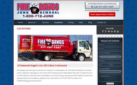 Screenshot of Locations Page firedawgsjunkremoval.com - Locations - Junk Removal Indianapolis - Fire Dawgs - captured Aug. 3, 2016