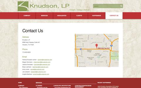 Screenshot of Contact Page knudsonlp.com - Contact Us  |  Knudson, LP - captured Jan. 9, 2016