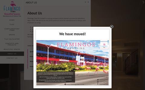 Screenshot of About Page flamingotiles.co.ke - About Us - Flamingo Tiles - captured Feb. 10, 2016