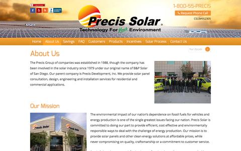 Screenshot of About Page precissolar.com - About Us | Precis Group | Precis Solar - captured July 14, 2016