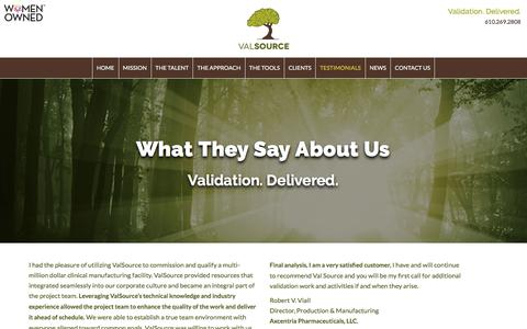 Screenshot of Testimonials Page valsource.com - Testimonials - ValSource - captured Feb. 13, 2016